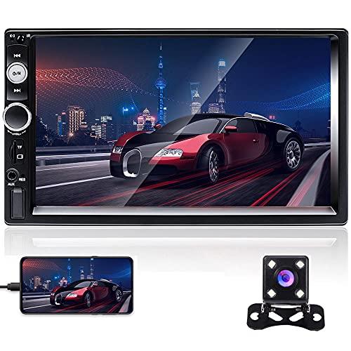 Hikity 2 Din Autoradio Bluetooth Auto Stereo 7 Pollici Schermo Tattile Ricevitore FM con USB Aux-in Porte Per Schede SD Supporto Collegamento a Specchio, SWC + Telecamera Di Backup