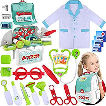 GINMIC Toy Doctor Kit for Kids 22 Pieces Toddlers Pretend Play Doctor Set with Roleplay Doctor Costume and Extra Large Medical Backpack Medical Dr Kits for Boys Girls Age 3 4 5 6 7 Years Old Gift