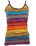 GURU SHOP Stonewash Goa Top, Style Hippie Top, Damen, Regenbogen 1, Baumwolle, Size:M/L (40), Tops & T-Shirts Alternative Bekleidung