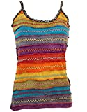 Guru-Shop Stonewash Goa Top, Boho Style Hippie Top, Damen, Regenbogen 1, Baumwolle, Size:S/M (36), Tops & T-Shirts Alternative Bekleidung