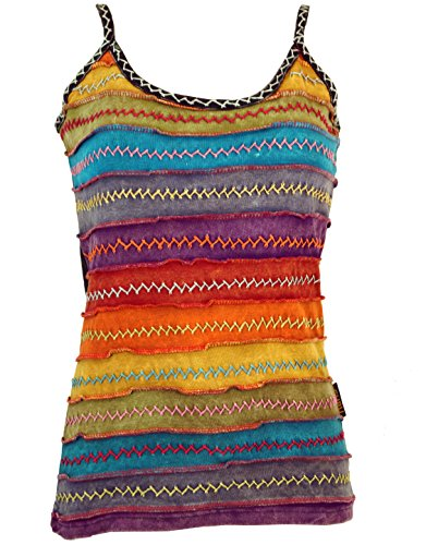 Guru-Shop Stonewash Goa Top, Boho Style Hippie Top, Damen, Regenbogen 1, Baumwolle, Size:M/L (40), Tops & T-Shirts Alternative Bekleidung