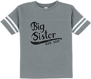Girls Big Sister Est 2020 Sibling Gifts Toddler Jersey T-Shirt