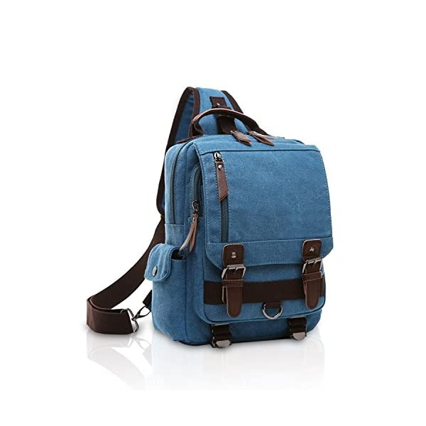 51UjA Z3E2L. SS600  - FANDARE New Hombres Sling Bag Business Commuter Estudiante Gym Outdoor Viaje Bolso de Hombro Transpirable Lienzo Azul A