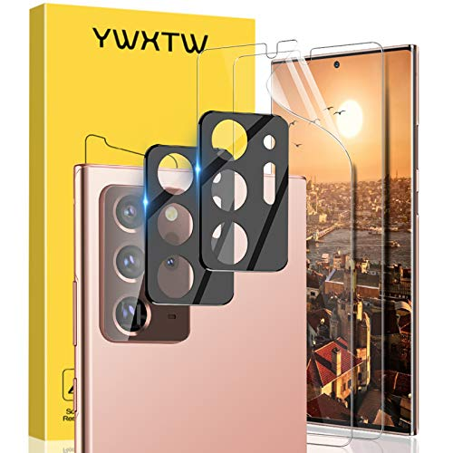 YWXTW [4 Pack] Samsung Galaxy Note 20 Ultra Screen Protector + Camera Lens Protector for Galaxy Note 20 Ultra, Upgraded Ultra-Thin Anti-Scratch Flexible TPU Film [In-Display Fingerprint Support] (Clear)