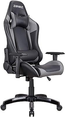 ZENEZ ゲーミングチェア 180°リクライニング可能 上下昇降機能 オフィスチェア オームレスト高さ調節可能 ネッククッション 腰クッション付き 日本語説明書付き ブラック&グレー