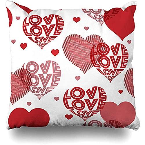 Throw Pillow Cover Romántico Typo Rojo Blanco Corazones Patrón Redacción Día Amor San Valentín Color Abstracto Creativo Diseño Lindo Decoración para el hogar Funda de cojín Tamaño Cuadrado 1