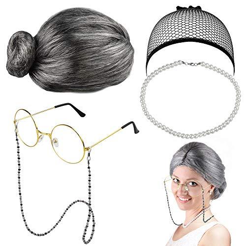 EMAGEREN Old Lady Kostüm Großmutter Cosplay Zubehör Set Oma Perücke Perücke Kappe Oma Brille Brillen Ketten Armband Perlenkette, Alte Dame Cosplay Set Kostümzubehör (5 Stück)