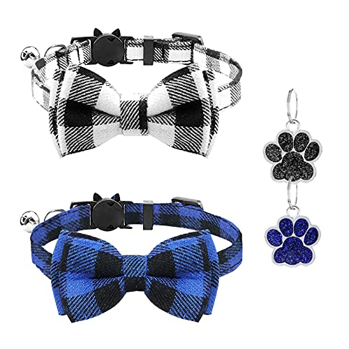 OWill 2 Pcs plaid cat collar for quick release, detachable bow tie, bell,...