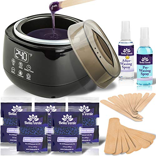 Wax Warmer Home Waxing Kit - Wax Kit for Hair Removal Wax Pot Professional with LED Display and 5 Bags Painless Hard Wax Beans, 20 Wax Sticks for Face, Legs, Arms, Bikini