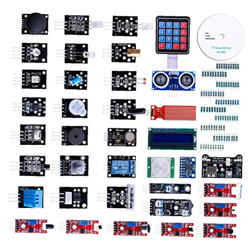 Hiinice Modul Sensor Kit Projekt Starter Kit Elektronische Bauelemente Set Basic Starter Kit Kompatibel mit UNO R3 37pcs