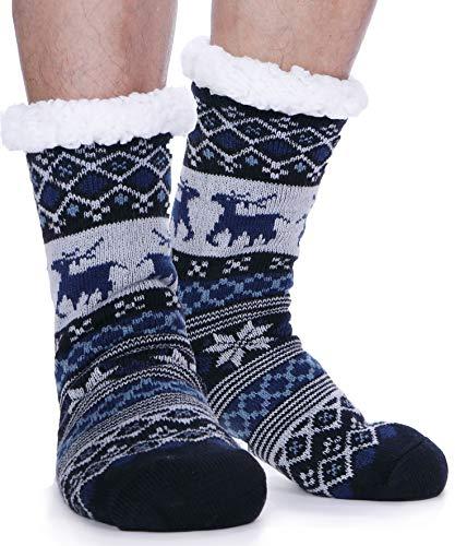 Men Slipper Fluffy Socks Fuzzy Fleece lined Cabin Warm Plush Cozy Non Skid Winter Deer Socks with Gripper(Dark Blue Deer)