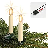 Hellum Lichterkette Made-in-Germany Weihnachtsbaum, Kerzen Lichterkette innen mit Clip, 20 warm-weiße LED-Filament, beleuchtet 1330cm, Kabel grün Schaft elfenbeinfarben, für Innen mit Stecker 814019