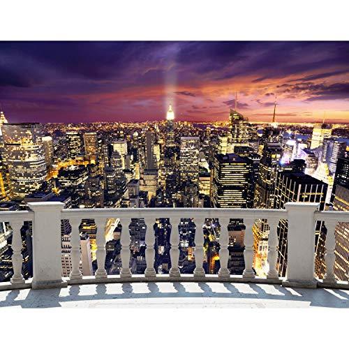 Fototapete Balkon New York 352 x 250 cm Vlies Tapeten Wandtapete XXL Moderne Wanddeko Wohnzimmer Schlafzimmer Büro Flur Beige 9027011b