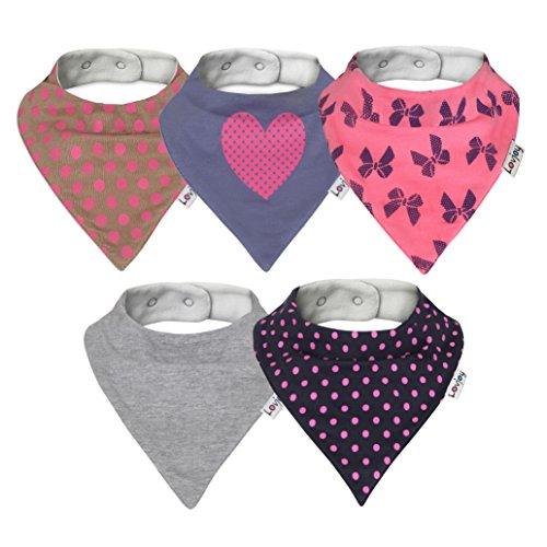 Lovjoy Baberos del bebé - Paquete de 5 Diseños para niña (polka amor)