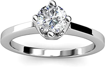 Cate & Chloe Lila White Gold Solitaire Engagement Ring with Swarovski Crystals, 18k Gold Plated, Fashion Jewelry, Round Diamond Ring, Silver Wedding Ring, Stackable - Hypoallergenic