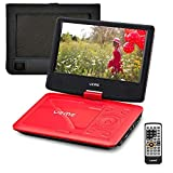 UEME Portable DVD Player with 9 inches Swivel Screen, Remote Control, Rechargeable Battery, AC Adapter Car Charger, Mobile DVD Player (Red)
