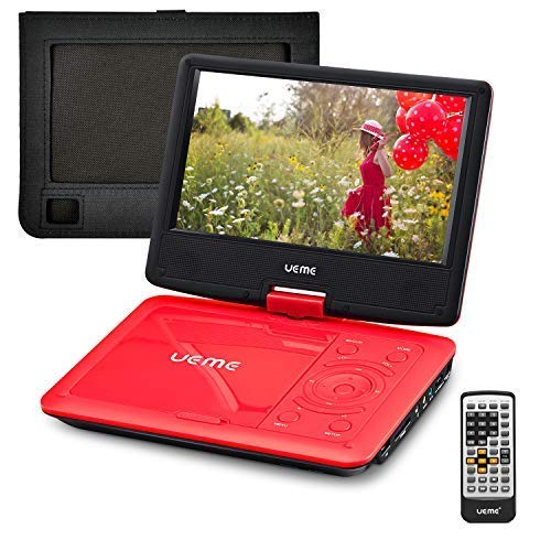 %26 OFF! UEME Portable DVD Player with 9 inches Swivel Screen, Remote Control, Rechargeable Battery,...
