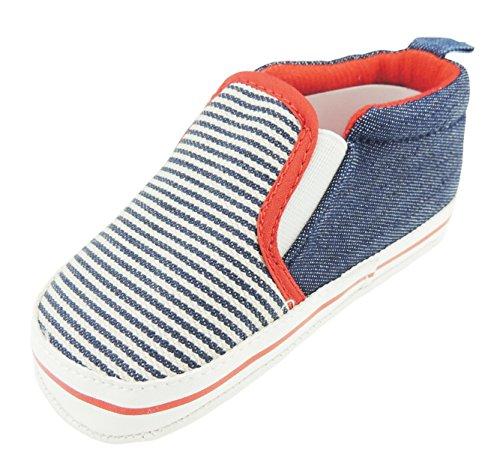 Super Leuke Baby Jongens Stripy Boot Schoenen Slip Op Loafers 0-3 Months Blauw