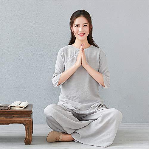 FJJLOVE Frauen Tai Chi Kleidung, Chinese Traditional Kung Fu Kleidung Cotton Martial Arts Uniform Für Kungfu Taichi Kampfsport Wing Chun Yoga,Grau,L