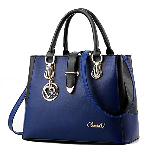 BestoU Damen Handtaschen Schwarz groß taschen Leder moderne damen handtasche gross schultertasche Frauen Umhängetasche (Blau)