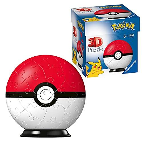 Ravensburger 3D Puzzle 11256 - Puzzle-Ball Pokémon Pokéballs - Pokéball Classic 11256 - 54 Teile - für Pokémon Fans ab 6 Jahren