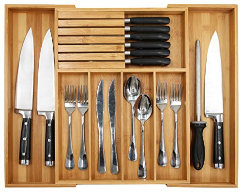 Besteckkasten aus Bambus für Besteck, erweiterbarer Besteckhalter mit Trennwand, 33 - 54,9 cm, Besteckaufbewahrung und herausnehmbarem Messerblock