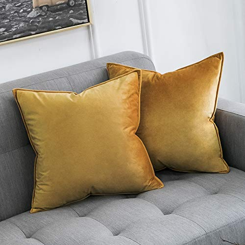 MIULEE Pack of 2 Decorative Velvet Throw Pillow Cover Soft Gold Pillow Cover Soild Square Cushion Case for Sofa Bedroom Car 18x 18 Inch 45x 45cm