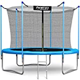 Neo-Sport Trampolin 244 cm (8 ft) mit Sicherheitsnetz Innennetz und Einstiegsleiter PRO Gartentrampolin
