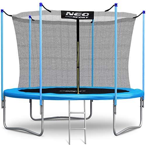 Neo-Sport Trampolin 305 cm 10ft mit Sicherheitsnetz Innennetz und Einstiegsleiter PRO Gartentrampolin