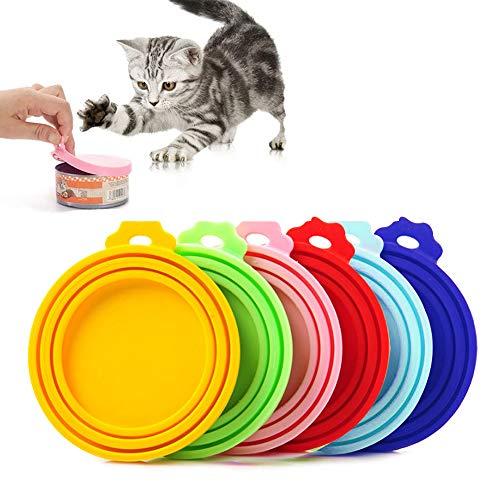 Chingde Tierfutter Dosendeckel, 6 Stück Universal Silikon Dosendeckel Katzenfutter Dosendeckel Hundefutter Tierfutteraufbewahrung Wiederverwendbar Tierfutter Dose