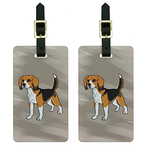 Graphics & More Beagle-Pet Dog Luggage Tags Suitcase Carry-on Id, White