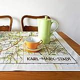 Karl-Marx-Stadt Tischdecke Picknickdecke DDR-Stadtplan 1960er Jahre Baumwolle