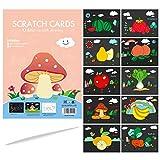 GLCS GLAUCUS 10 Pezzi Fogli da Disegno Scratch Nero da Grattare Set Libro da Colorare Arte Set di Pittura Scratch Painting Kit per Bambini-Frutta