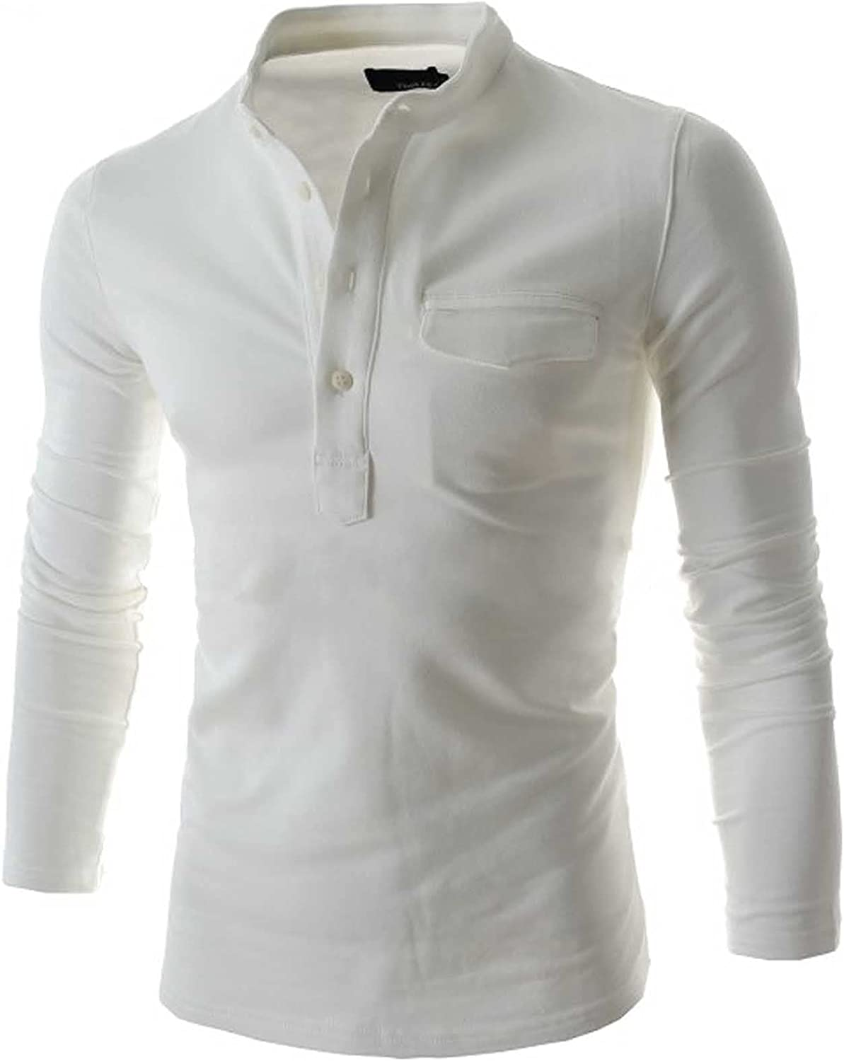 FUNEY Men's Classic Long Sleeve Button Up Collar Henley Shirts Casual V Neck Slim Fit Cotton Tshirts Tops with Pockets