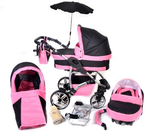 Twing 3-in-1Reiseset mit Baby Kinderwagen, Autositz, Buggy & Zubehör, Schwarz & Rosa