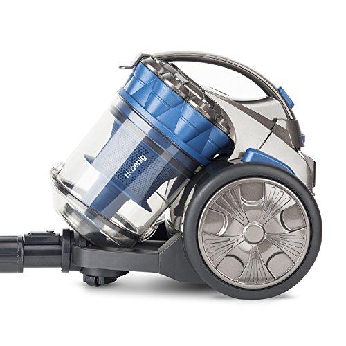 H.Koenig STC68 Aspirapolvere a traino compatto senza sacco AAA special animali, 2,5L,leggero, salva spazio + Accessori,Blu