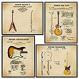 LARGE 11X14 - Famous Guitar Poster Set - Fender, Les Paul, Stratocaster, Telecaster, Flying V- Musician Gifts for Men - Guitar Patent Prints - Guitar Player Wall Art - Living Room Home Decor -Unframed