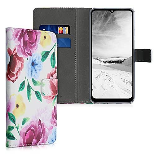 kwmobile Wallet Hülle kompatibel mit Samsung Galaxy A12 - Hülle Kunstleder mit Kartenfächern Stand Blumen Mix Aquarell Mehrfarbig Champagner
