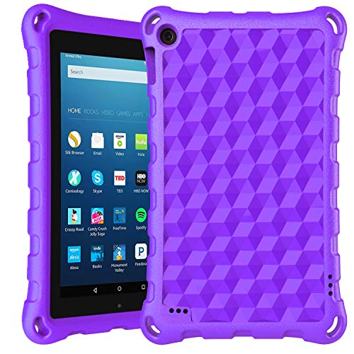 2019 7 inch Tablet Case-DiHines Light-Weight Kids-Proof Protective Case Cover for 7 inch Tablet (Compatible with 2019&2017&2015 Release) (Purple)