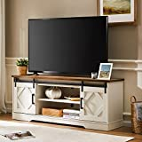 WAMPAT Farmhouse Sliding Barn Door TV Stand for TV up to 65' Flat Screen Media Console Table Storage Cabinet Wood Entertainment Center White