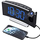 Mpow Reloj Despertador Digital, Radio Despertador Proyector con Puerto USB, Alarma Dual con 5 Sonidos e 3 Volúmenes, 0-100% Regulable Dimmer, 4 Brillo de Proyección, 30 Radio FM(Incluido el Adaptador)