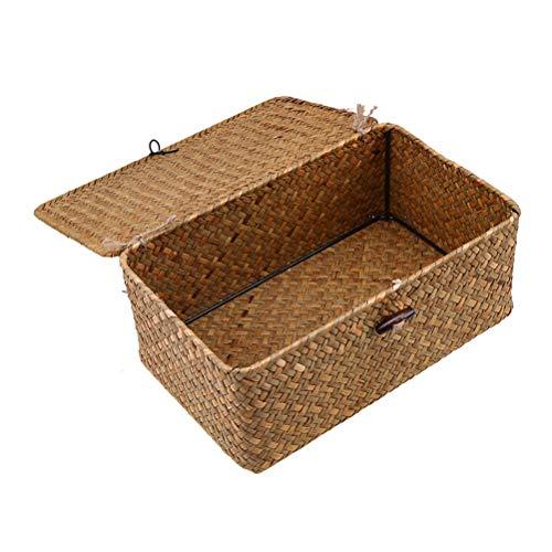 Esoes Aufbewahrungskorb aus geflochtenem Rattan, Aufbewahrungsbox mit Deckel, Seegras, Wäschekörbe, Make-up-Organizer für Badezimmer, Wohnzimmer, Küche