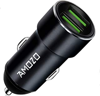AMOZO 3A Dual Port Rapid Fast Car Charger - Metal Strong Body Shockproof Charger for Car (Black)