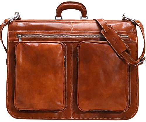 Great Deal! Floto Venezia Olive (Honey) Brown Leather Garment Bag Suitcase