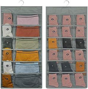 Lirex Organizador de Armarios, 2-Pack Organizador Ropa Interior de 60 Bolsillos Organizador Tela Oxford Colgante Bolso Ahorrando Espacio en el Armario para Dormitorio Familiar de Armario