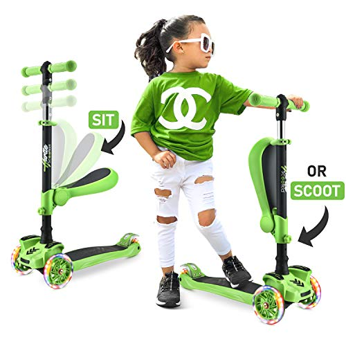 Hurtle 3 Wheeled Scooter for Kids - Stand & Cruise Child/Toddlers Toy Folding Kick Scooters w/Adjustable Height, Anti-Slip Deck, Flashing Wheel Lights, for Boys/Girls 2-12 Year Old HURFS69G (Green)