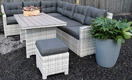 Atlantis - Conjunto de muebles de jardín de polirratán | salón de comedor | 8 personas | grupo de asientos con mesa de comedor | incluye cojines acolchados | mesa de jardín con sillas