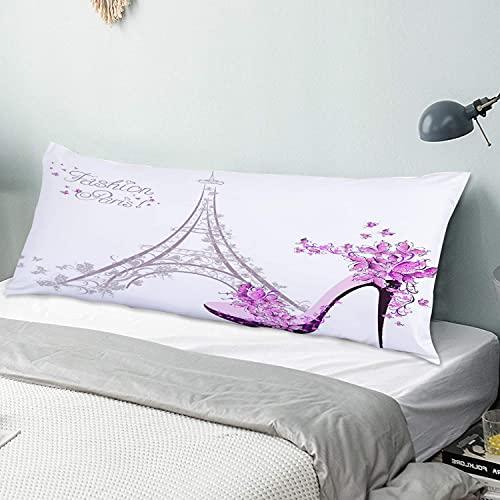 Personalizzato Federa Lunga,Scarpe col tacco alto sulla moda di Parigi della Torre Eiffel,Fodera per Cuscino per il Corpo Sham con Cerniera Chiusura Home Decor Divano per Camera da Letto,54' x 20'