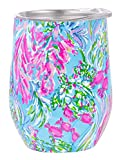 Lilly Pulitzer 12 Ounce Insulated Stemless Wine Tumbler with Lid, Blue Stainless Steel Travel Cup, Best Fishes