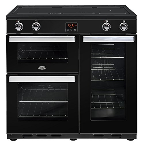 Belling Cookcentre 90Ei Range Cooker with Induction Zone, Black - Ovens and Cookers (Stove, Black, Knob and Touch Control, Front, Enamel, Induction Hob)